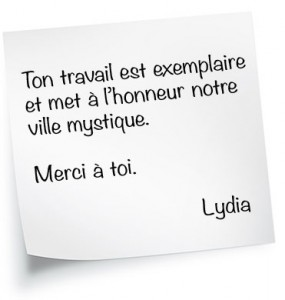 Ton travail est exemplaire et met à l'honneur notre ville mystique. Merci à toi. Lydia